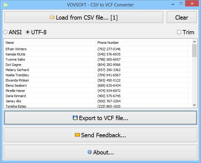 VovSoft CSV to VCF Converter 1.1