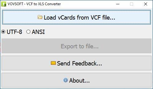 VovSoft VCF to XLS Converter1